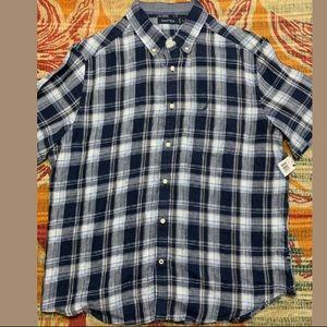 NAUTICA 100% Linen Plaid Short Sleeve Button Shirt